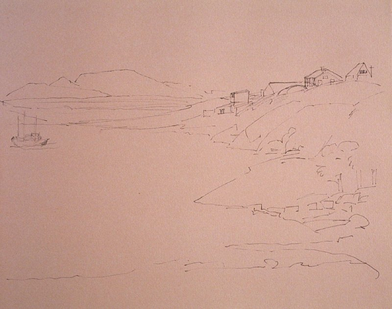 Boat Moored in Inlet, seventy-second image from Travel Sketchbook of Antarctica