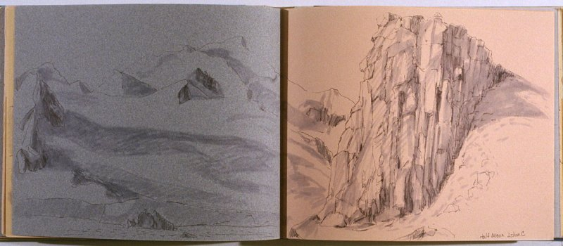 Half Moon Island, thirty-eighth image from Travel Sketchbook of Antarctica