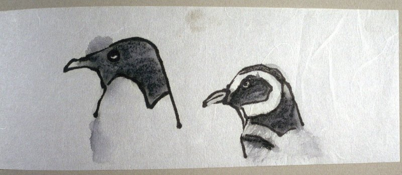 Two Penguin Heads, seventy-seventh image from Travel Sketchbook of Antarctica
