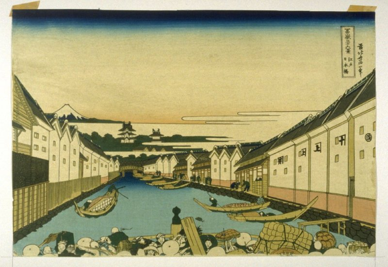 Fuji from the Nihon Bashi, Yedo, Looking over Uyena Temple - No.14 from: 36 Views of Fuji