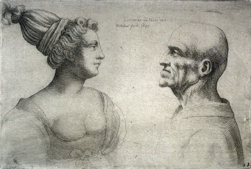 A Female with Tied Back Hair and a Bald Male Facing Each Other