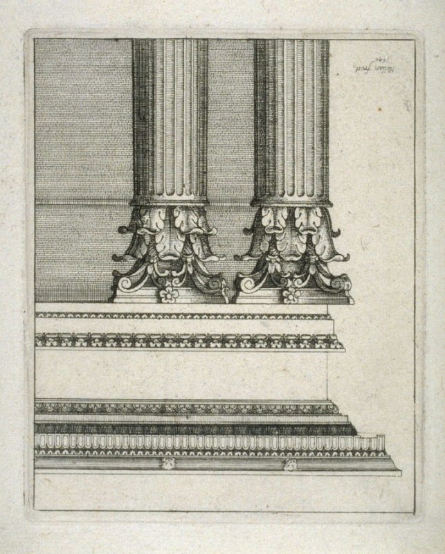 Two Corinthian columns and entablature