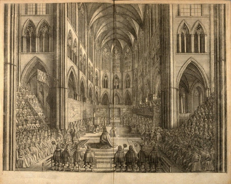 [The Coronation of King Charles II in Westminster Abbey], plate laid in at the front of the book, The Entertainment of … Charles II in his passage through the City of London to his coronation… (London: printed by Tho[mas] Roycroft [for] the author, 1662)
