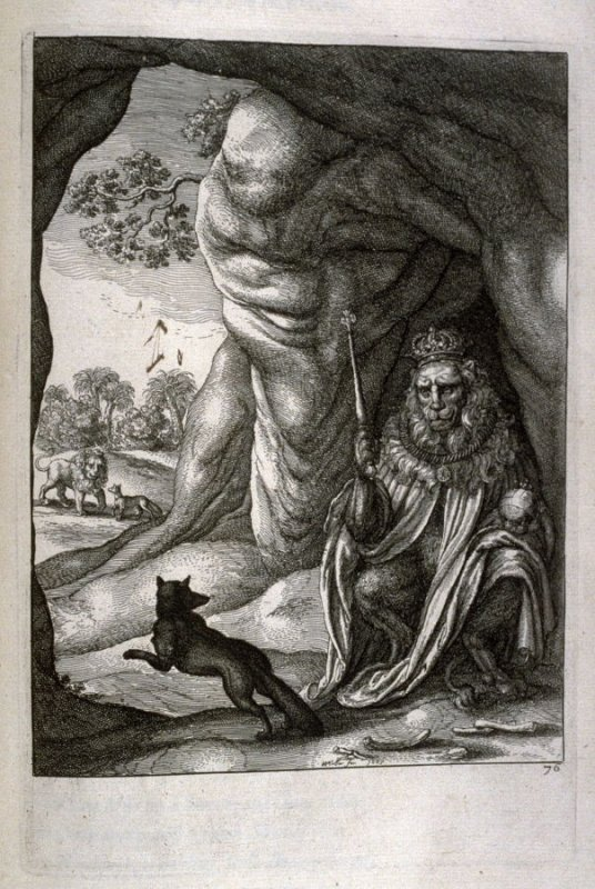 Illustration for Fable 73, Of theFox and the Lion, opposite page 194 in the book The Fables of Aesop Paraphras'd in Verse...by John Ogilby (London: Thomas Roycroft, 1665); [bound with] Aesopicus or a Second Collection of Fables...(London: Thomas Roycroft,