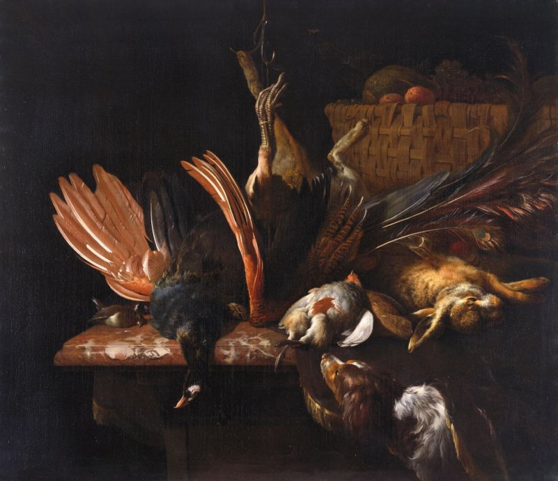 Still Life with Peacock, Rabbit and Spaniel