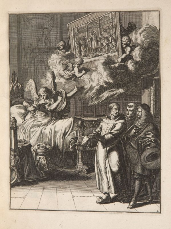 Plate 3 opposite page 24 in the book La manière de bien se préparer à la mort …by M. de Chertablon (Antwerp: George Gallet, 1700)