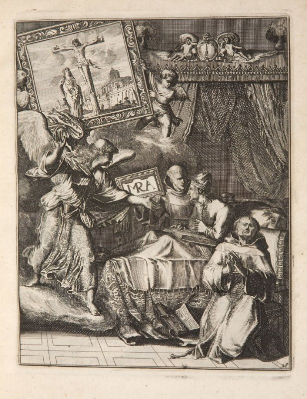 Plate 41 opposite page 62 in the book La manière de bien se préparer à la mort …by M. de Chertablon (Antwerp: George Gallet, 1700)