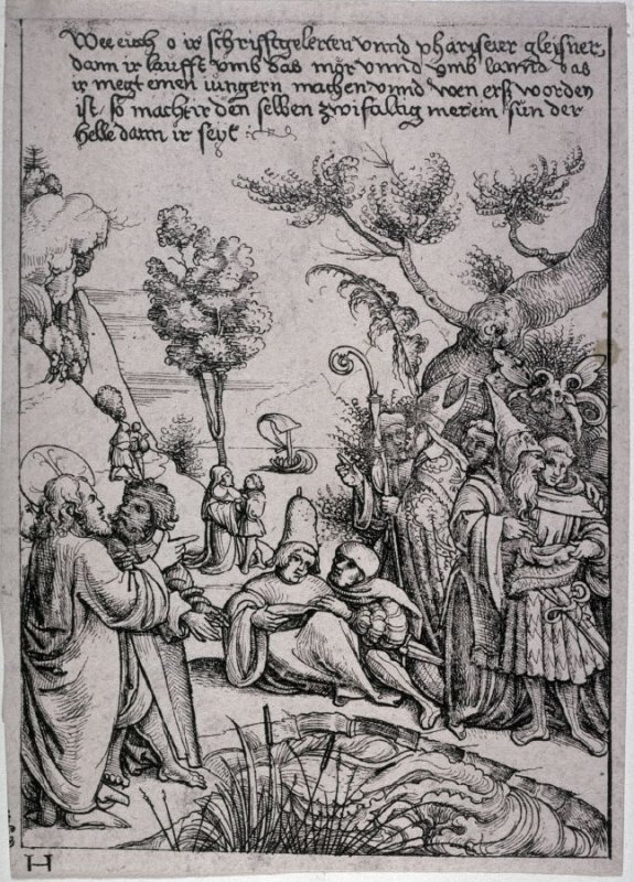 Biblical Scene from Matthew (cropped from larger plate)