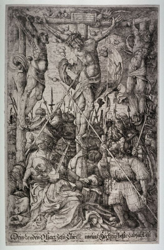 A Centurion piercing a lance through the dead body of Christ on the Cross between the two thieves