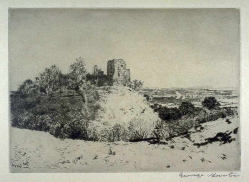 [landscape with a castle ruin on a hill]