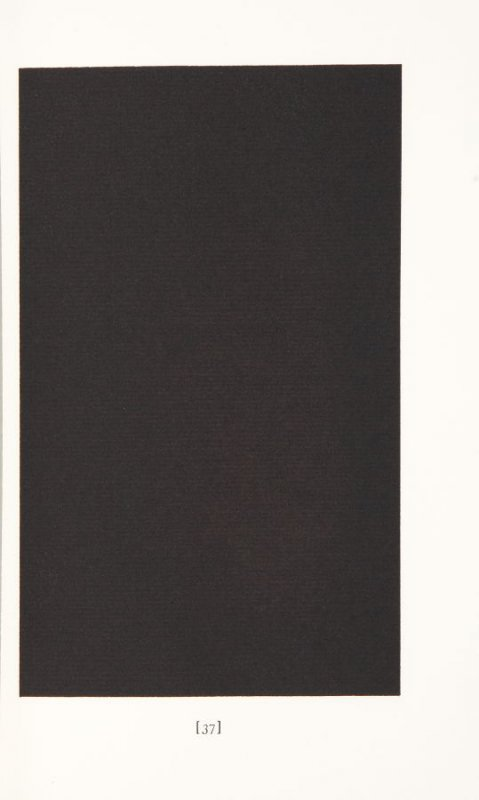 """Untitled """"black page"""", page 37 in the book The Life and Opinions of Tristram Shandy, Gentleman by Laurence Sterne (San Francisco: Arion Press, 1988), volume 1"""