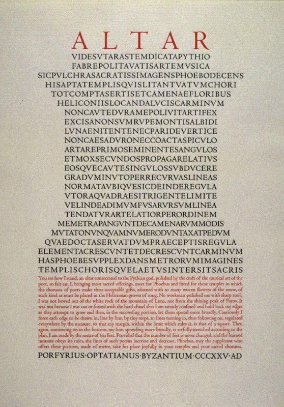 Altar by Porfyrius Optatianus, plate 3 in the portfolio Shaped Poetry (San Francisco: Arion Press, 1981)