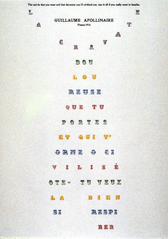 Necktie by Guillaume Apollinaire, plate 15 in the portfolio Shaped Poetry (San Francisco: Arion Press, 1981)