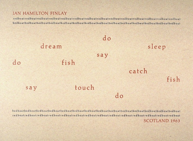 Redboat by Ian Hamilton Finlay, plate 27 in the portfolio Shaped Poetry (San Francisco: Arion Press, 1981)