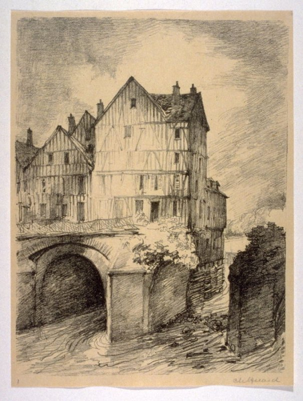 The Old Bridge at Meaux (Sept. 1914), number 1 from The War Sketches of Charles Huard