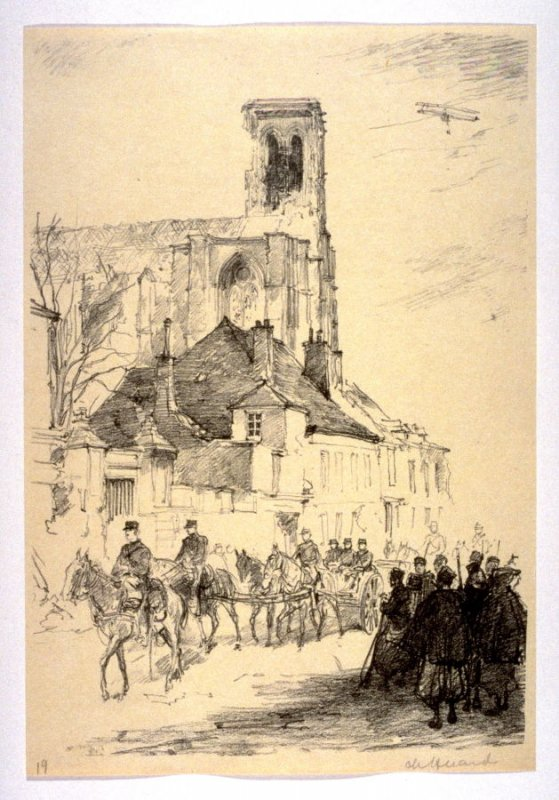 Soissons Cathedral (March 1915), number 19 from The War Sketches of Charles Huard