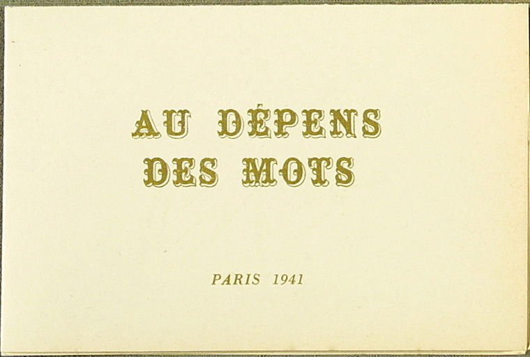 Four Pamphlets with Poems by Georges Hugnet, Paris 1941 by Georges Hugnet (Paris: Georges Hugnet, 1941). pamphlet 3 of 4.