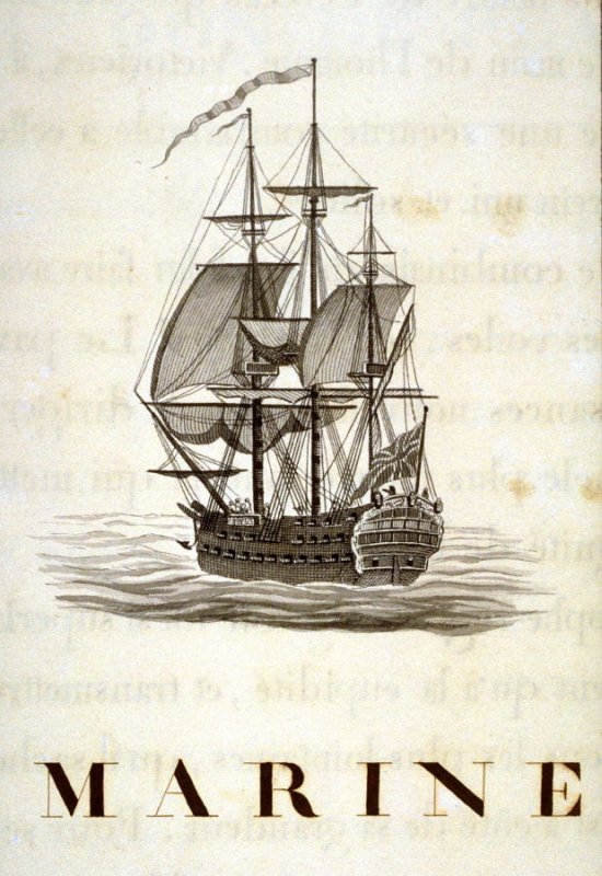 Untitled (a naval vessel under sail), page 7 of the book, Mon passe-tems dédié à moi-même, vol.1