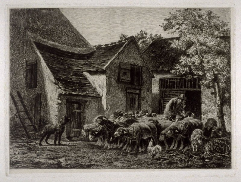 (Farm scene with sheepherder, sheep and dog)