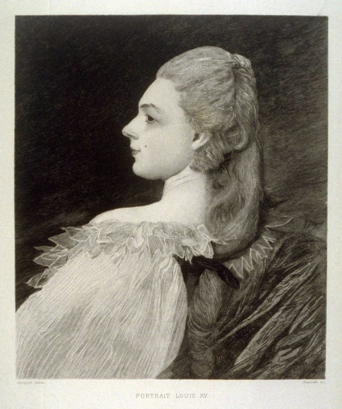 Portrait of a young woman in Louis XV dress, published in L'Art