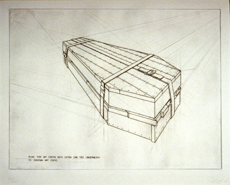 Plan for my Coffin with Extra Coffin Tied Underneath to Contain Art Critic