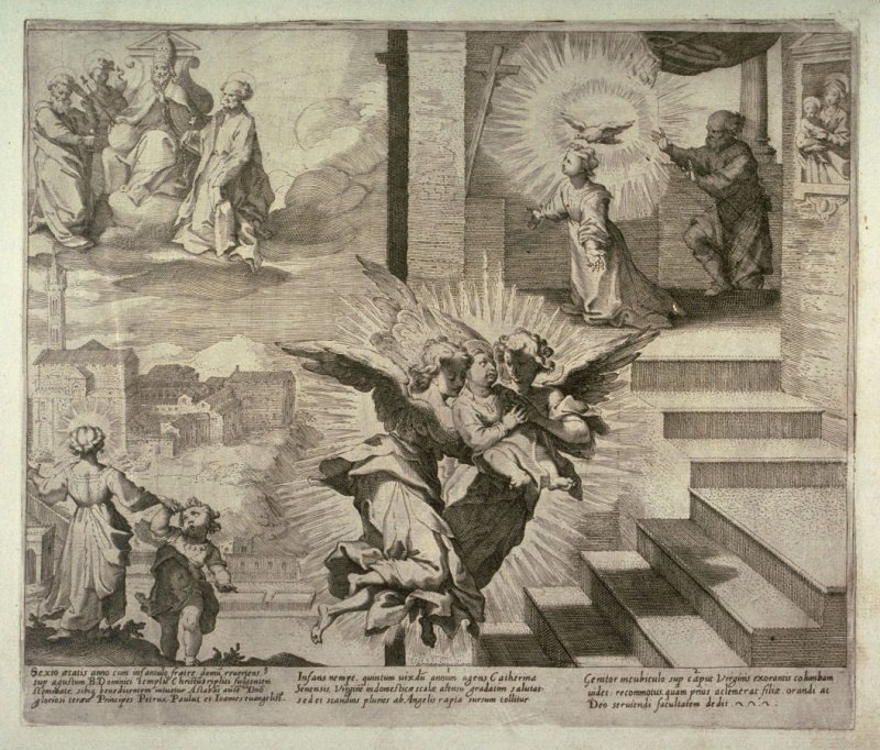 Scenes 1-3 from the life of St. Catherine of Siena