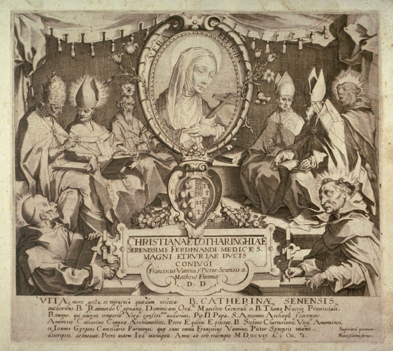 Title page from The Life, Death, Deeds, and Selected Miracles of the Blessed Catherine of Siena