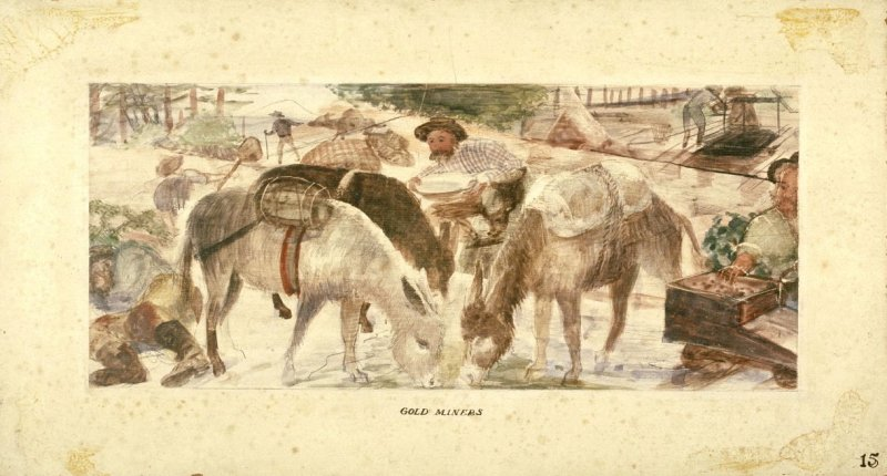Gold Miners, Mural Study for Rincon Annex Post Office
