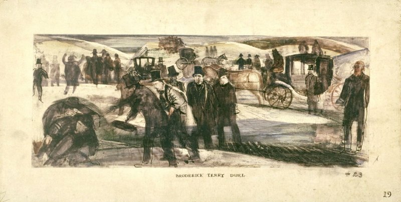 Broderick Terry Duel, Mural Study for Rincon Annex Post Office