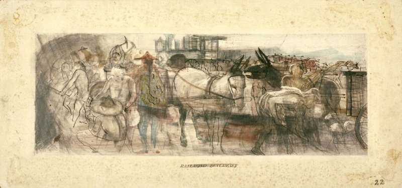 Railroad Builders, Mural Study for Rincon Annex Post Office