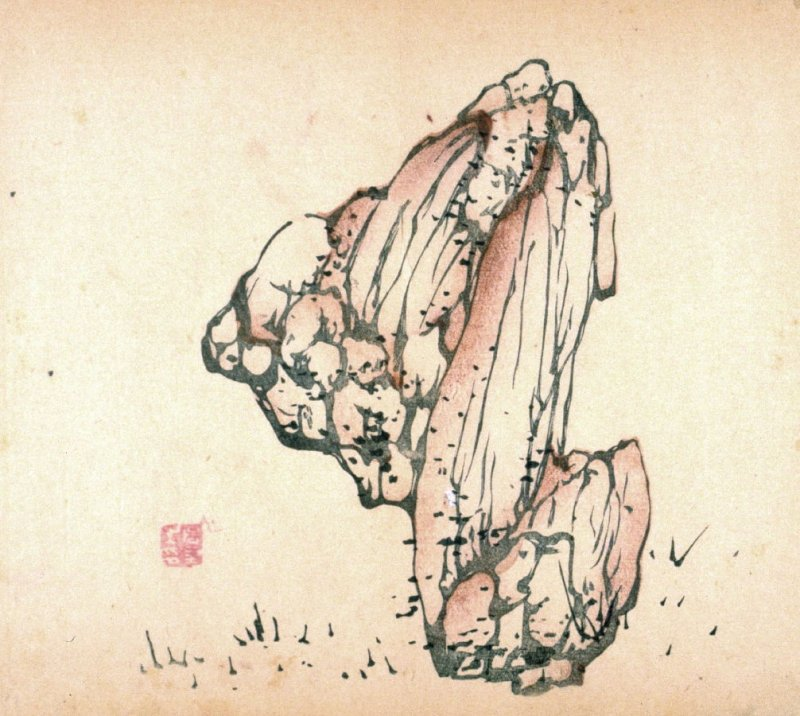 Ink-dotted stone pointed to left; ground, No.20 from the Volume on Stones - from: The Treatise on Calligraphy and Painting of the Ten Bamboo Studio
