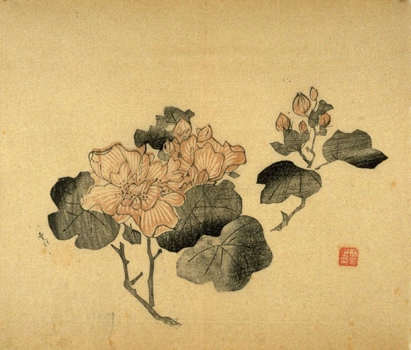 Mallows (leaves in ink), No.11 from Volume I(1+2) on Miscellaneous Subjects - from: The Treatise on Calligraphy and Painting of the Ten Bamboo Studio