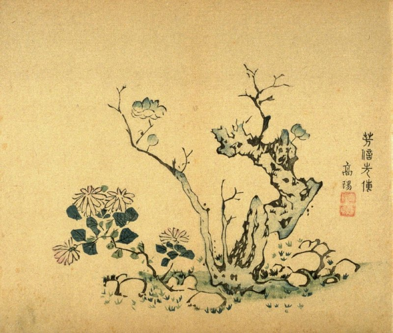 Early Plum Blossom, Chrysanthemum and Rocks, No.1 from the Volume on Plums - from: The Treatise on Calligraphy and Painting of the Ten Bamboo Studio