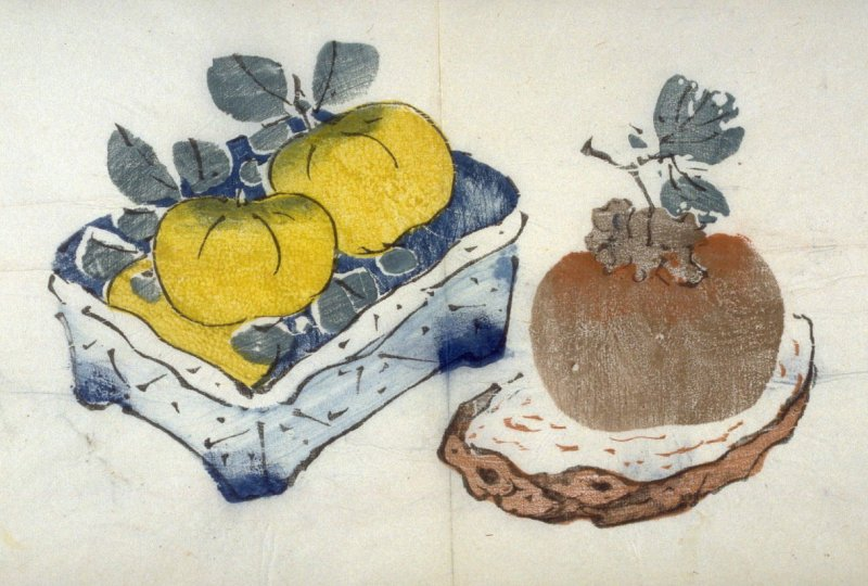 Tangerines in Square Bowl, Persimmons on Stand, No.9 from the Volume on Fruit - from: The Treatise on Calligraphy and Painting of the Ten Bamboo Studio
