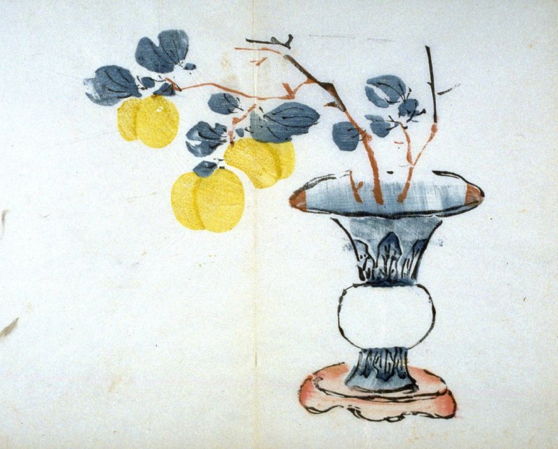 Branch of Tangerines(?) in Vase on Stand, No.6 from the Volume on Fruit - from: The Treatise on Calligraphy and Painting of the Ten Bamboo Studio