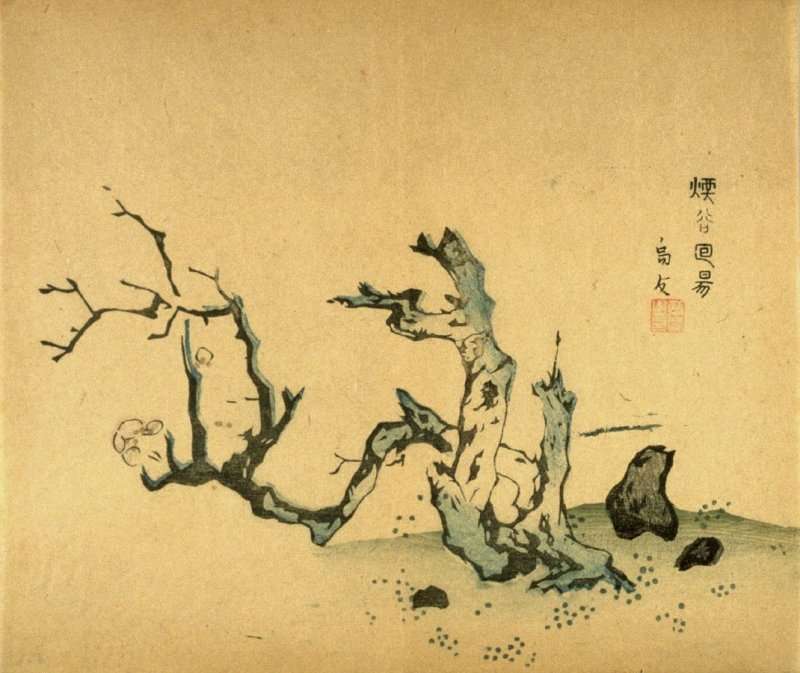 Flowering Stump and Rocks, No.4 from the Volume on Plums - from: The Treatise on Calligraphy and Painting of the Ten Bamboo Studio