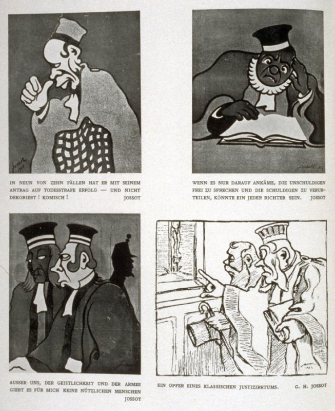 Reproductions of four caricatures on page 92 in the book, Der Advokat in der Karikatur, ed. Cornelis Veth (Berlin: Otto Stollberg, [927])