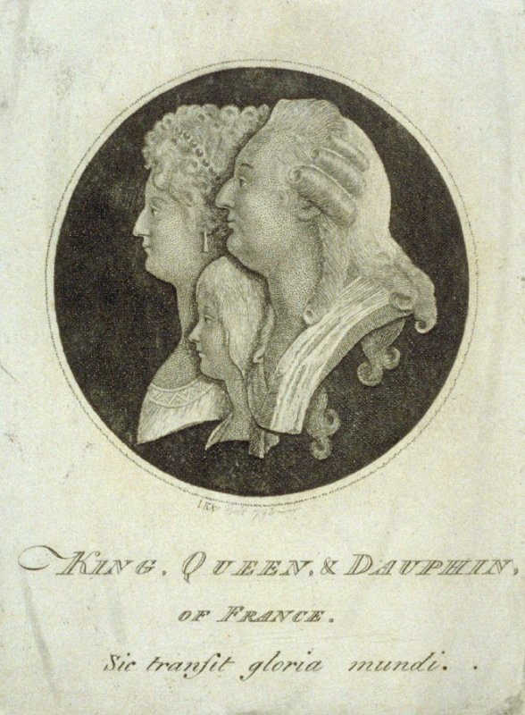 Portraits of King Louis XVI, Queen Marie Antoinette and the Dauphin of France