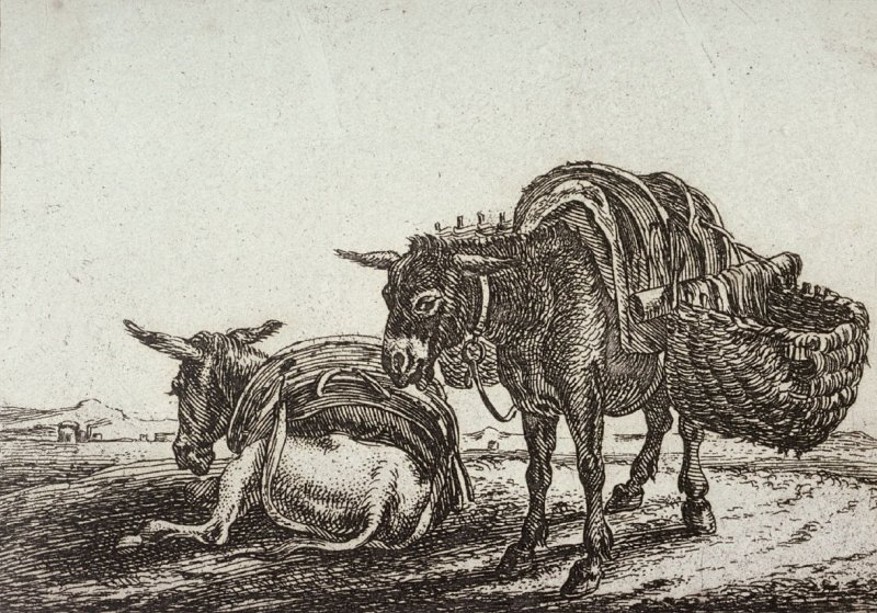 [Two mules, from] Set of Six Animals