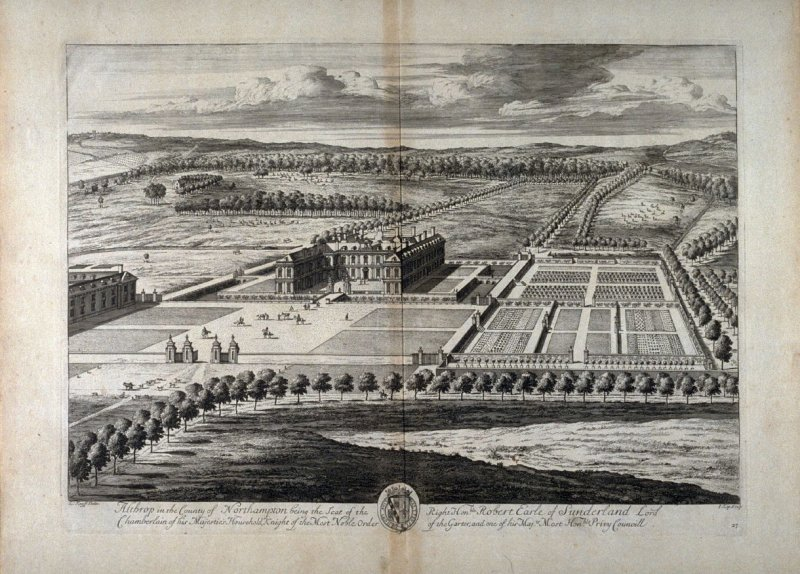 Plate 27: Althrop in the Cuonty of Northampton being the Seat of the Right Honorable Robert, Earle of Sunderland, etc., illustration to the series 'Britannia Illustrata'