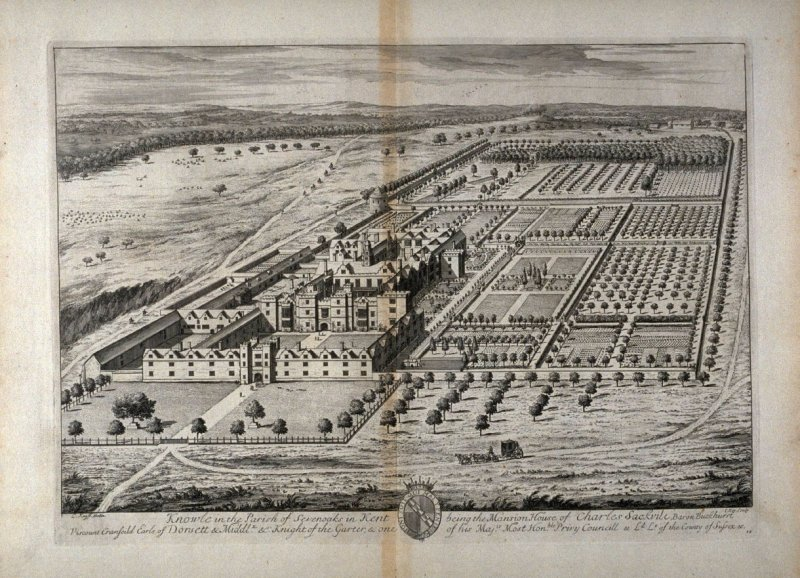 Plate 24: Knowle in the Parish of Sevenoaks in Kent being the Mansion House of Charles Sackvile, Baron Buckhurst, etc., illustration to the series 'Britannia Illustrata'