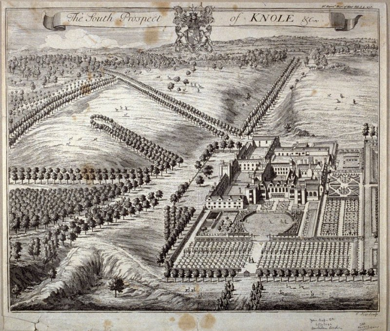 The South Prospect of Knole, etc., illustration to Harris's 'History of Kent' (1719) Vol.I