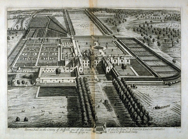 Plate 44: Brome Hall in the County of Suffolk, one of the Seats of the Right honorable Charles Lord Cornwallis, illustration to the series 'Britannia Illustrata'