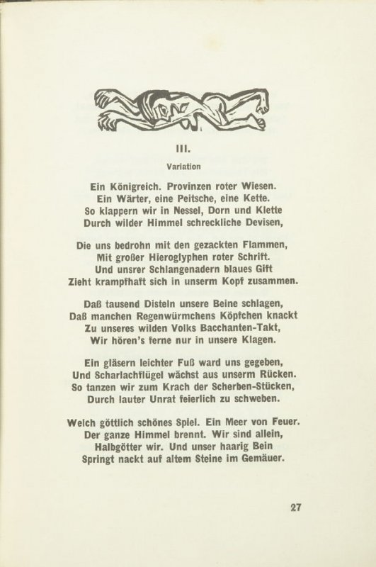 "Untitled headpiece for chapter titled ""Die Irren, III ,"" pg. 27, in the book Umbra Vitae: Nachgelassene Gedichte by Georg Heym (Munich: Kurt Wolff, 1924)."