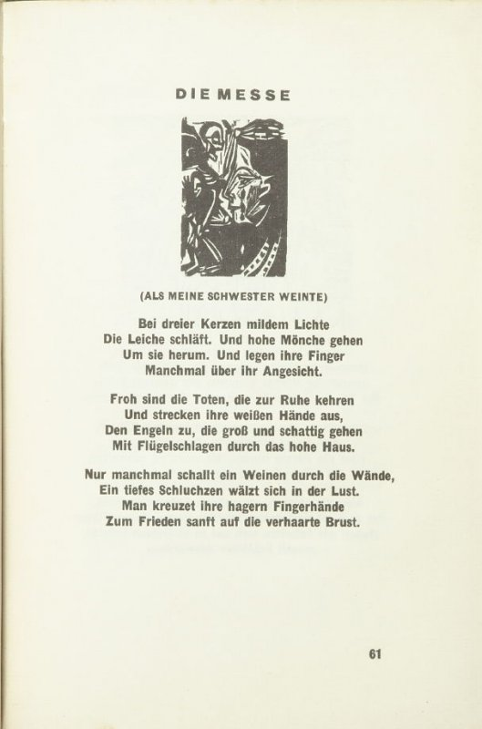"Untitled headpiece for chapter titled ""Die Messe ,"" pg. 61, in the book Umbra Vitae: Nachgelassene Gedichte by Georg Heym (Munich: Kurt Wolff, 1924)."