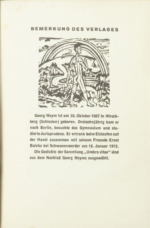 "Untitled headpiece for chapter titled ""Bemerkung des Verlages ,"" in the book Umbra Vitae: Nachgelassene Gedichte by Georg Heym (Munich: Kurt Wolff, 1924)."
