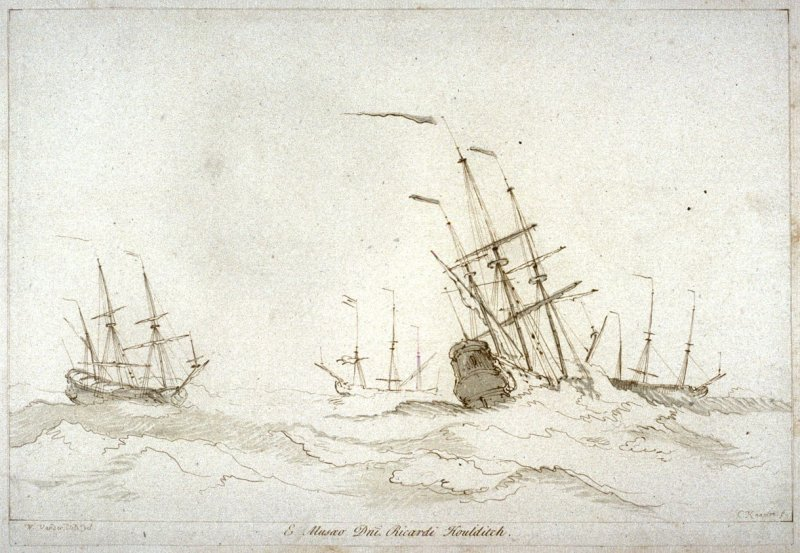 Ships at sea, from the series 'Prints in Imitation of Drawings'