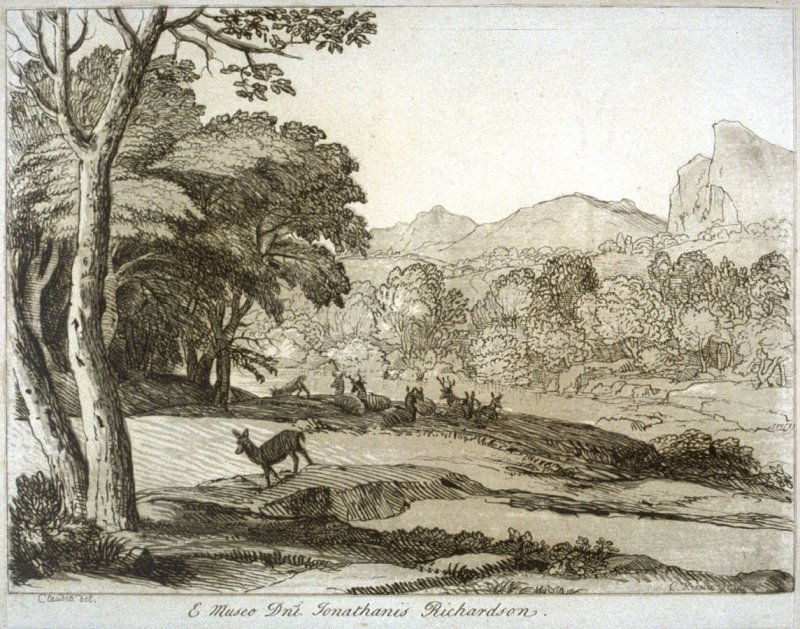 Wooded River Banks with Herd of Deer, from the series 'Prints in Imitation of Drawings'