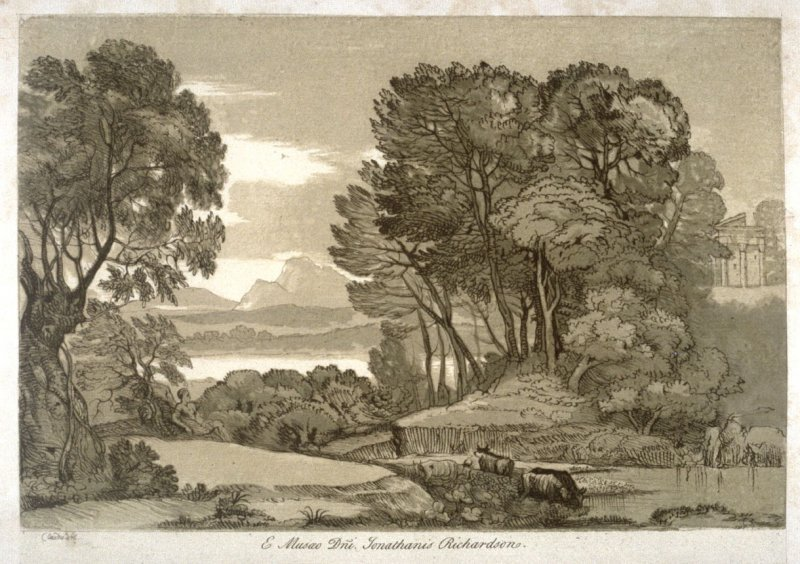 View over Lake to Mountains through Trees, from the series 'Prints in Imitation of Drawings'