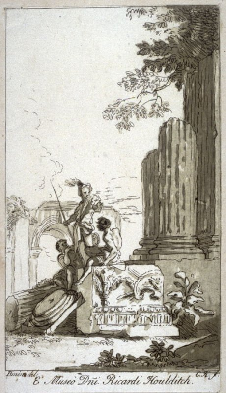 Ruins of Ionic temple with three figures, from the series 'Prints in Imitation of Drawings'